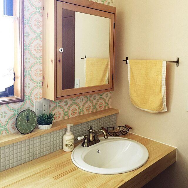 Bathroom,レトロ風,IKEA,洗面所 収納,洗面台周り,洗面ボウル,北欧,ナチュラル,フェイクグリーン my_mayの部屋