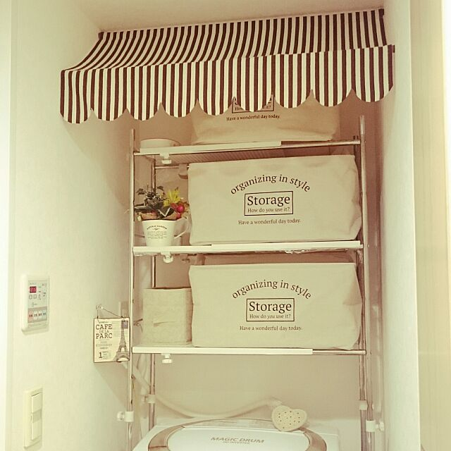 Bathroom,オーニング風,ダイソー麻袋,洗濯,洗濯機まわり,洗濯機ラック,洗濯機上の棚,ハンガー収納,ダイソーstorageBOX,ダイソーストレージボックス,洗濯機周りっぽくなくしたい,洗濯物入れ,毎日の洗濯を少しでも楽しく♪,ダイソーのはぎれ mi-の部屋