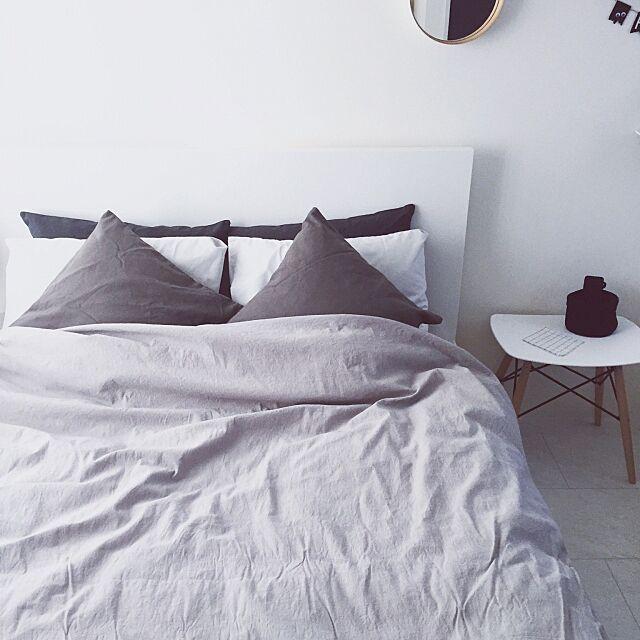 Bedroom,無印良品,IKEA,TEORI,モノトーンインテリア,グレーインテリア A_Z..yanの部屋
