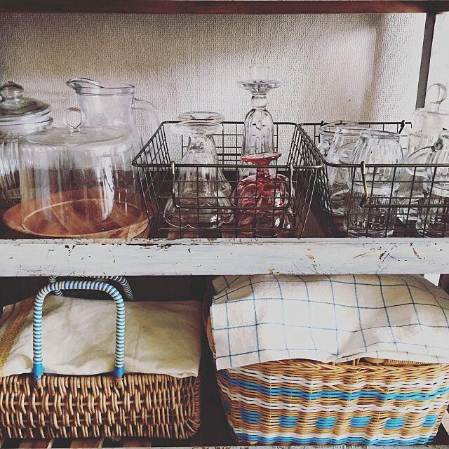 Kitchen,ガラスドーム,かご収納,かご,パフェグラス,ガラスの器,古木,エフォートレス・スタイル,団地 nanohanaの部屋