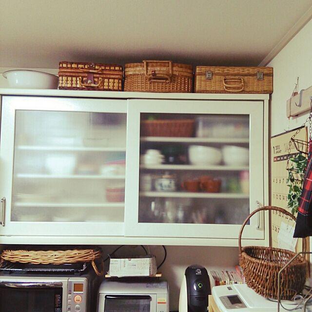 Kitchen,かご,バスケット収納,ピクニックバスケット,収納,古道具 Akiの部屋