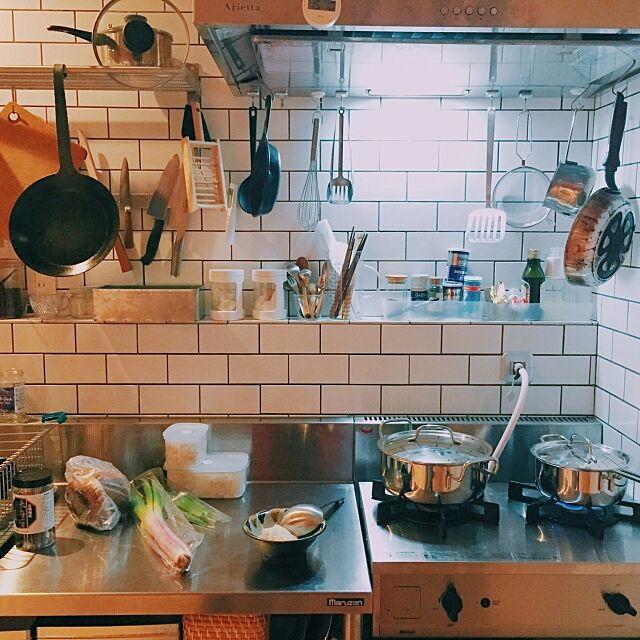 Kitchen,Tark,リンナイ,サブウェイタイル,業務用キッチン,リノベーション,vamo hello_210の部屋