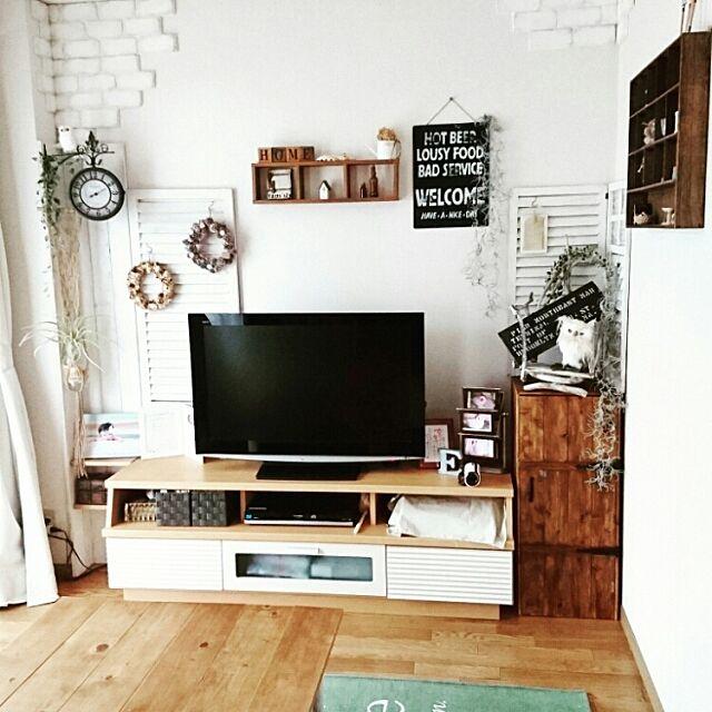 Lounge,賃貸,DIY,フェイクグリーン,いなざうるす屋さん,発泡スチロールレンガ sumoの部屋