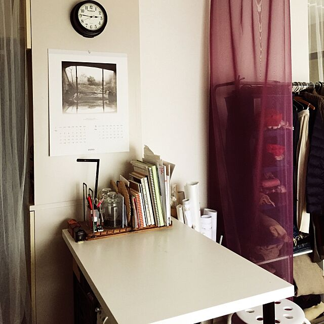 My Desk,一人暮らし,賃貸,カーテン,つっぱり棒,古道具,IKEA mimicaの部屋