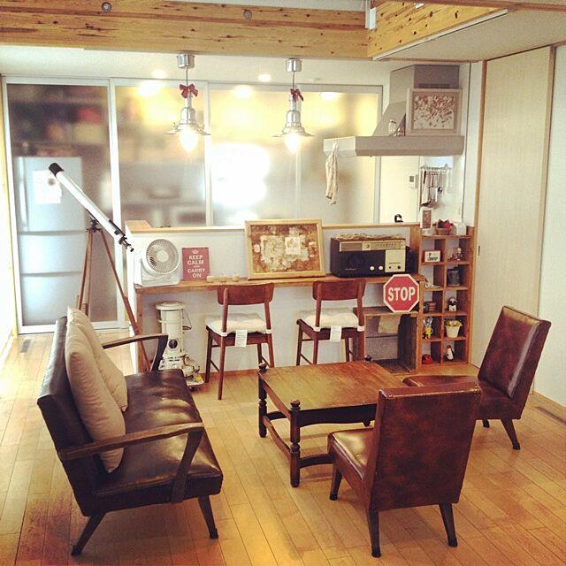 Lounge,アンティーク,望遠鏡,ラジオ,レトロ家電,DIY,ヴィンテージ,リンゴ,無印良品の家,無印良品 Takuの部屋