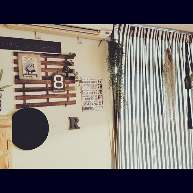 On Walls,リメイク缶,いなざうるす屋さん,男前,DIY,子供部屋,パーフェクトスペース,モニター,カーテン,元は和室,プラントハンガー,フェイクグリーン,バスロールサイン sensyuの部屋