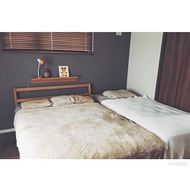 Bedroom,寝室,無印良品,アクセントクロス,ウッドブラインド,タモ材ベッド,壁に付けられる家具,100いいね!ありがとうございます♪ sumikaの部屋