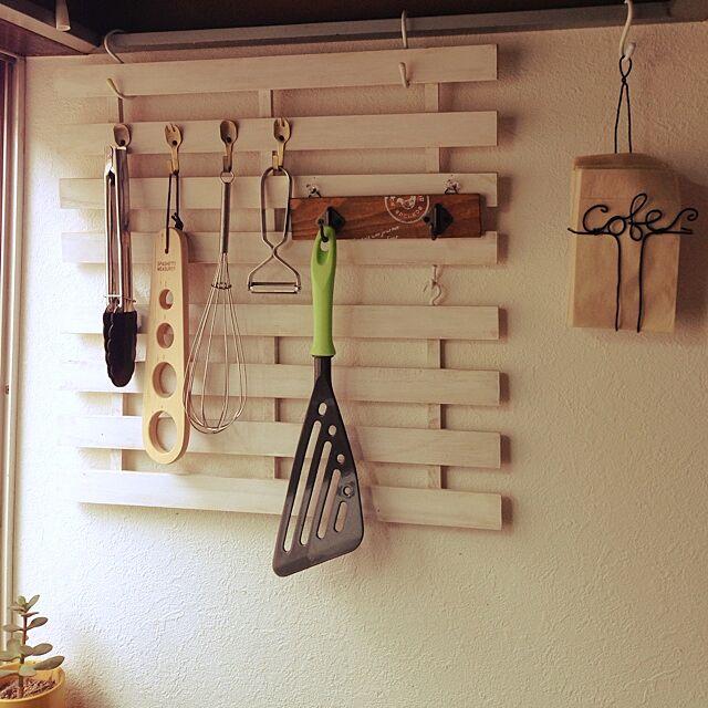 Kitchen,すのこ壁掛け,一人暮らし,1K 1人暮らし,ワイヤークラフト,キッチンツール収納,セリア,DIY noncoの部屋