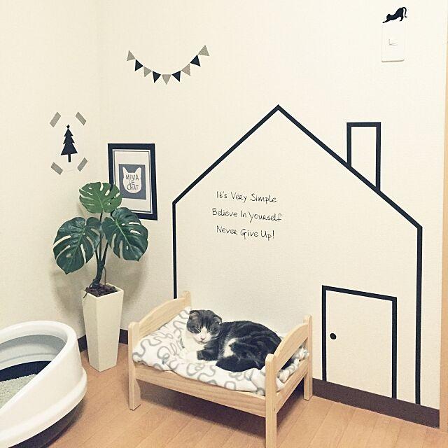 ガーランド,マスキングテープ,IKEA,白黒,モノトーン,insta→tansuke0323,アルファベット,ねこのいる日常,ねこと暮らす。,猫,猫ベッド,ねこ部,ベッド,ストライプ,スコティッシュフォールド,モンステラ,フェイクグリーン,ドールベッド,クリスマス,Bedroom tansukeの部屋