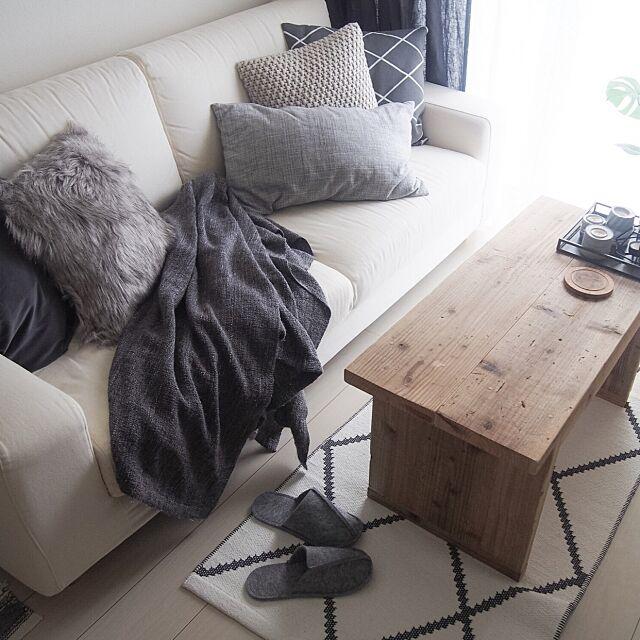 Lounge,一人暮らし,北欧,H&M HOME,クッションカバー yukey.mの部屋