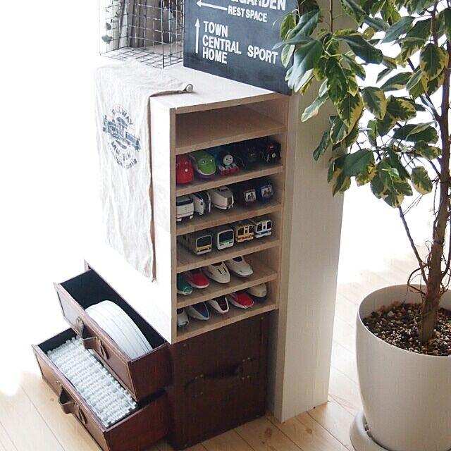 My Shelf,収納,おもちゃ収納,プラレール収納,マッキーで書きました,プチDIY,ファルカタ材,雪国レールセット,連投失礼します sally.の部屋