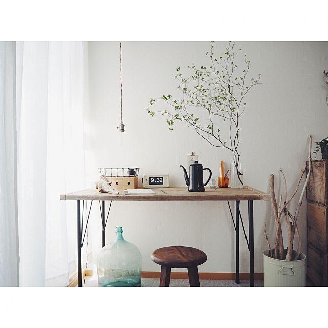 My Desk,無印良品,照明,アンティーク,DIY,古道具,デスク,TWEMCO,流木,足場板,ドウダンツツジ,塩系インテリアの会,塩系インテリア flat_mountainの部屋