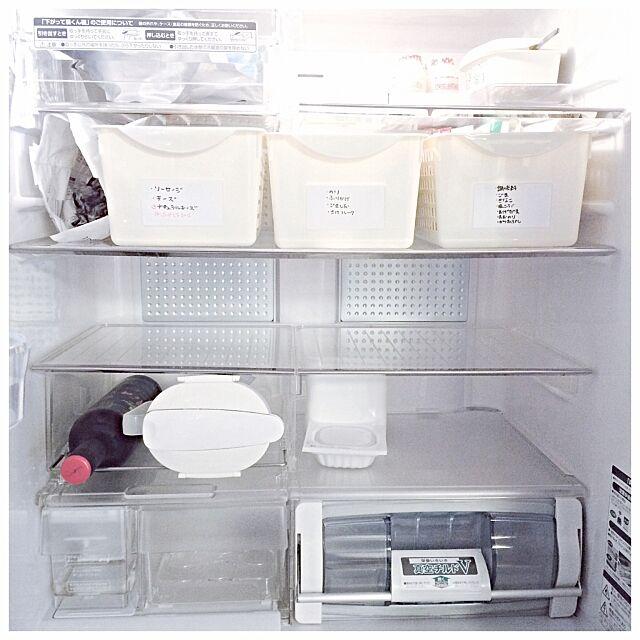 Kitchen,整理整頓,ホワイトボードシート,プラケース,ダイソー,冷蔵庫の中,冷蔵庫,塩系インテリアの会,大掃除,81組,インスタ→mari.h2,インスタと同じpic,冷蔵庫収納 mariの部屋