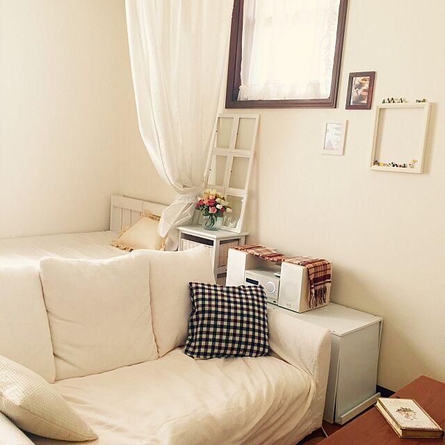 Overview,チェック,ディノス,ローラアシュレイ,仕切りカーテン,6畳,生活雑貨,ホワイト,狭い momoの部屋