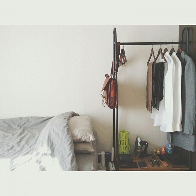 Lounge,ベッド,ハンガーラック,シンプル,学生,1K,ひとり暮らし,シンプルライフ,一人暮らし,暮らし,無印良品,無印 Katakoriの部屋