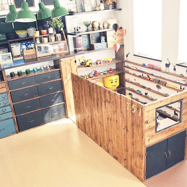 My Shelf,キッズスペース (リビング),静岡県民,IG→SAORIN501,DIY,おもちゃ収納,こどもと暮らす,キッズスペース,プラレール収納,男の子部屋,レゴ収納,トミカ収納,収納,秘密基地,子供部屋 SAORIN51の部屋