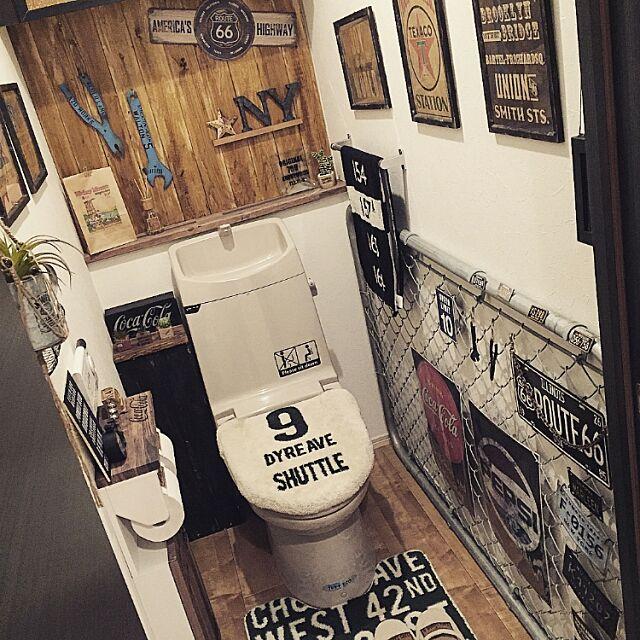 Bathroom,オーサムストア,ごちゃごちゃ,トイレマット,フェンス,アメリカン,板壁,ミカヅキモモコ,雑貨,インスタやってます!,100均,インスタID*chicamera.y,男前,DIY,男前インテリア,ダイソー,セリア chicaの部屋