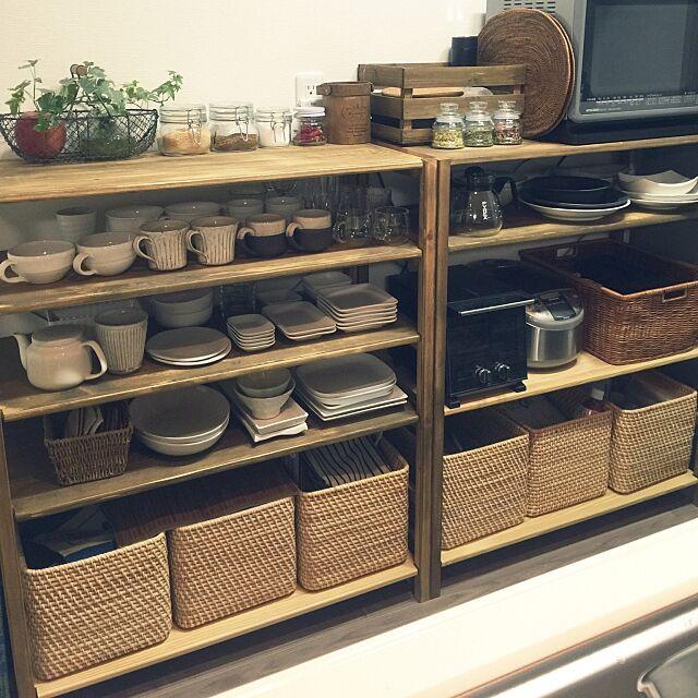 お気に入りの食器たち,無印My Shelfリメイク,キッチン収納 maronの部屋
