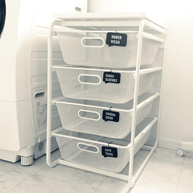 Bathroom,連投失礼します,プラ板,洗濯物入れ,IKEA,モノトーン,白黒,収納,いいね!100越えありがとうございます♪ OtOの部屋