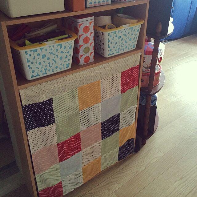 My Shelf,カラーボックス,カーテン,パッチワーク,カゴ,ダイソー sakuraの部屋