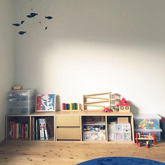 Lounge,ダンボール引出 パルプボードボックス用,パルプボードボックス,ポリプロピレン 小物収納ボックス,ポリプロプレンキャリーボックス ロック付,キッズスペース,無印良品,モビール haruの部屋