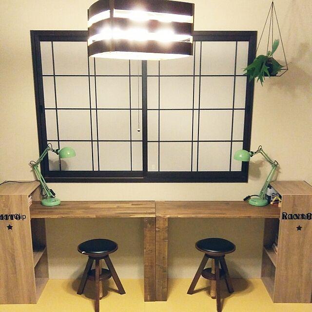 My Desk,観葉植物,カラーボックス,和室,勉強机,DIY,学習机,カインズホーム,コウモリラン,IKEA 照明,学習机DIY,イベント参加中,自作学習机 tag-mclarenの部屋