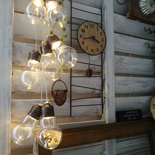 On Walls,電球型ボトルライト,セリア時計,みかづきももこ,リメイク m.hinaの部屋