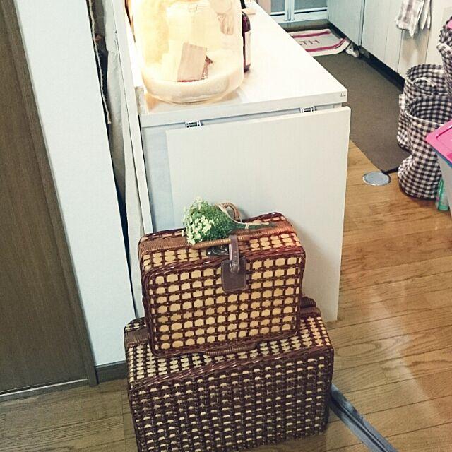 Kitchen,折り畳み式棚受け,かご,ピクニックバスケット,DIY,賃貸,食器棚,カフェ風,米びつ瓶,いつもいいねありがとうございます♡,限られたスペースの中で ma-chinの部屋
