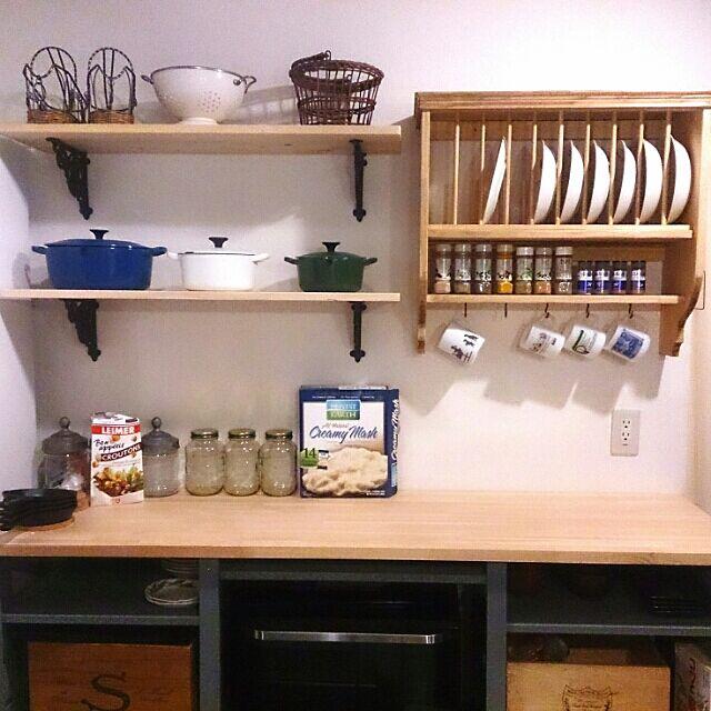 Kitchen,DIY,バックカウンター,ディッシュラック,たなDIY,ル・クルーゼ,コンテスト参加 bravehartの部屋