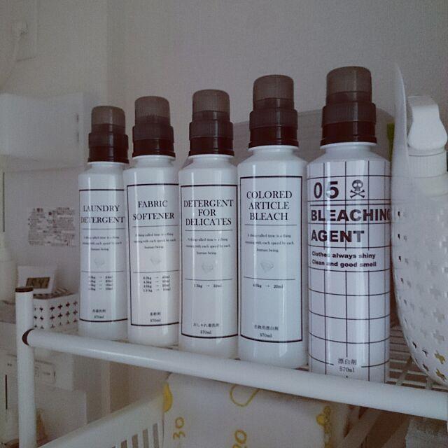 Bathroom,手作り,詰め替えボトル,ラベル,モノトーン化,洗面所 fu3.iwaの部屋