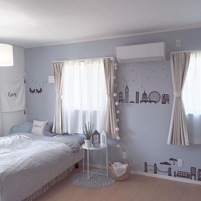 Bedroom,女の子の部屋,水色の壁紙,ニトリ,こどもと暮らす。,サンゲツの壁紙,IKEA,ACTAS,フェイクグリーン,ウォールステッカー otamaの部屋