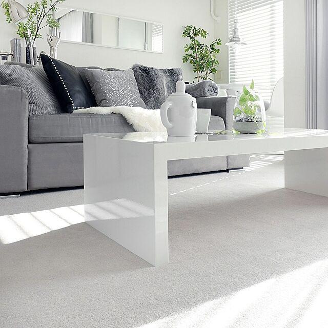 モノトーン,白黒グレー,ソファー,テーブル,観葉植物,MONOTONE,Lounge,ソファ tuuliの部屋