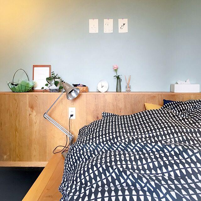 Bedroom,IKEA,三角,北欧インテリア,北欧テイスト,北欧,セルフペイント,掛け布団カバー,ナチュラル,ソニーモニター応募 moimoiの部屋