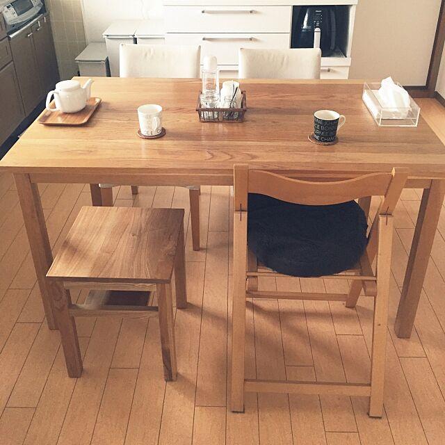 Kitchen,無垢材テーブル,無垢材サイドテーブルベンチ・板座,オーク材テーブル,無印良品,ダイニングテーブル,賃貸,無印良品 テーブル,二人暮らし Kaneyukiの部屋