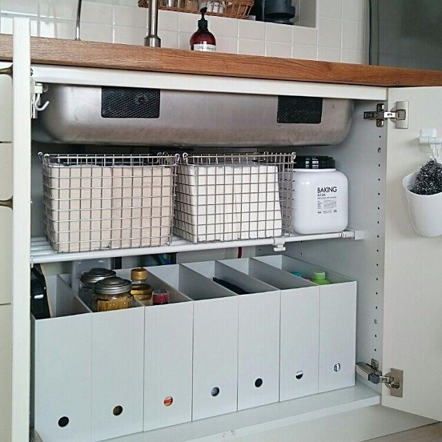 Kitchen,シンク下収納,収納,無印良品,100均,シンプル,整理収納部,IKEAキッチン,mon・o・tone,ブログやってます,加工なし,生活感,IKEA kajiの部屋