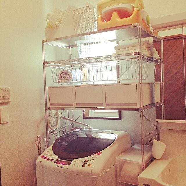 Bathroom,ランドリー,洗濯機,洗濯機ラック,本多さおり,ユニットシェルフ,無印良品,Panasonic saachanの部屋