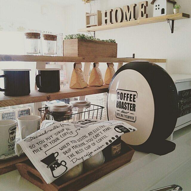 Kitchen,お茶セット,セリア,手ぬぐい,ネスカフェバリスタ,DIY棚 yurikoの部屋
