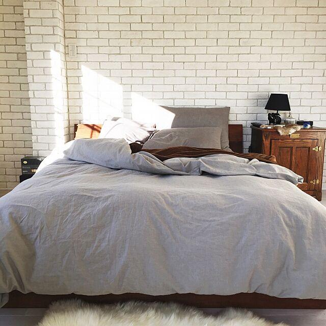 Bedroom,無印良品,寝室,アクタス,インダストリアル,インスタ mai0509,鉄筋コンクリート3階建,いつもいいねやコメありがとうございます♡,アンティーク,煉瓦,ニューヨーク,自宅兼整骨院,築42年,ブルックリン,ブリックタイル,リノベーション,パパママハウス,papa maman house mai0509の部屋