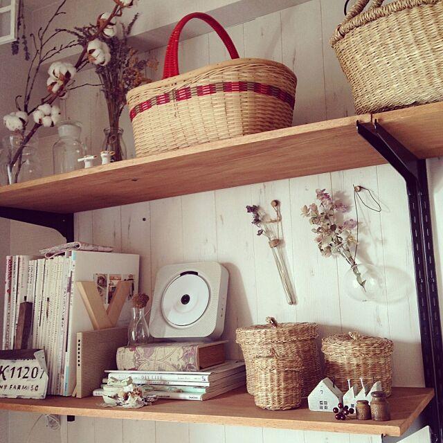 My Shelf,IKEA,カゴ,ドライフラワー,無印良品 壁掛けCD,無印良品,ナチュラル makkyfoneの部屋
