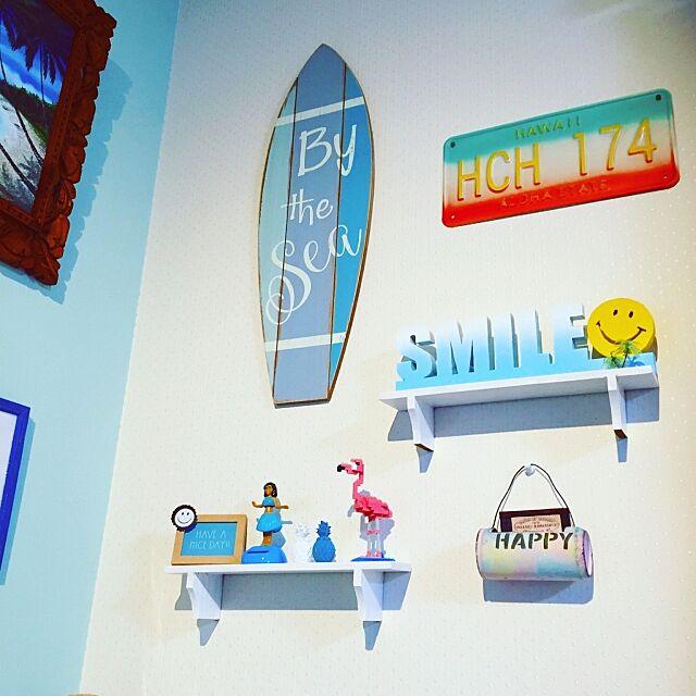 On Walls,ブルー好き,ビーチインテリア,海を感じる雑貨,海を感じるインテリア,100均,キャンドゥ,ダイソー,スマイル,リメイク缶,フラミンゴ,ナンバープレート,サリュ,ニトリ,ハワイアン kanamiの部屋