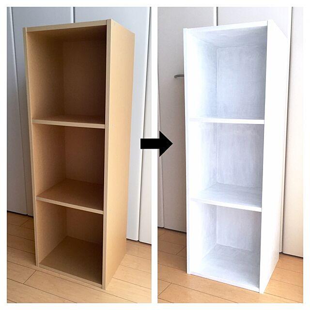 My Shelf,ミルクペイントスノーホワイト,マルチプライマー,パルプボードボックス,無印良品,ペイント向上委員会,ターナー Kaneyukiの部屋