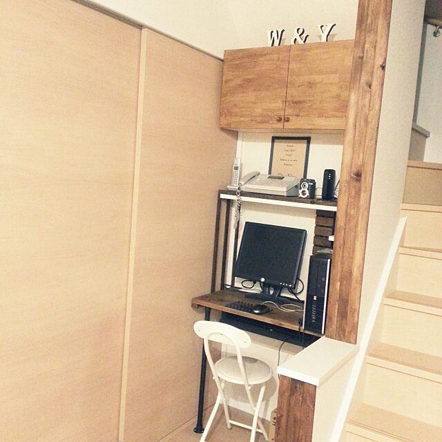My Desk,パソコンコーナー,鉛筆削りお気に入り♡,DIY棚 akaneの部屋