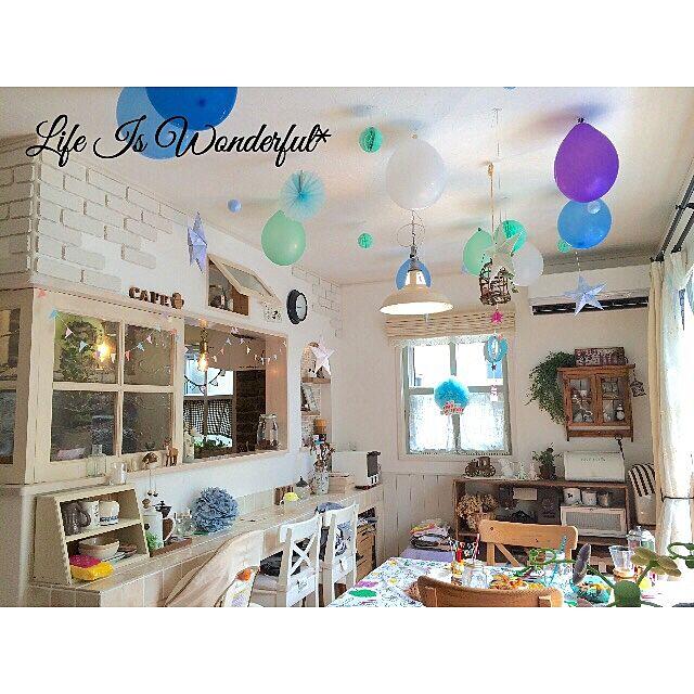 Overview,バースデーパーティー,誕生日,誕生日飾り付け,おうちカフェ,セリア,100均 Sakura_Ayumiの部屋