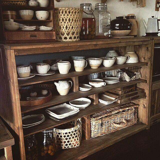 Kitchen,食器棚DIY,DIY,賃貸でも楽しく♪,インスタ→chii_ne,rutawa rawajifu noroの部屋