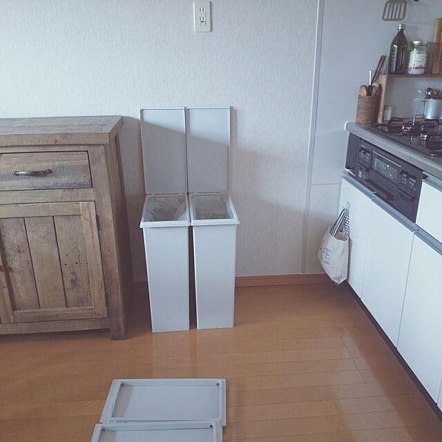 Kitchen,賃貸,すっきり暮らす。,キッチンカウンター,無印良品,ゴミ箱,引越し 224BASEの部屋