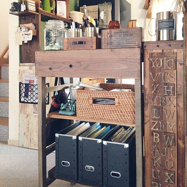 My Desk,アイコン変えました,硬質パルプ ファイルBOX,ラタン角型バスケット,自作ミニカウンター,足場板,TNK FACTORY ,無印良品,and-Nちゃん,塩系インテリアの会 AJIKOの部屋