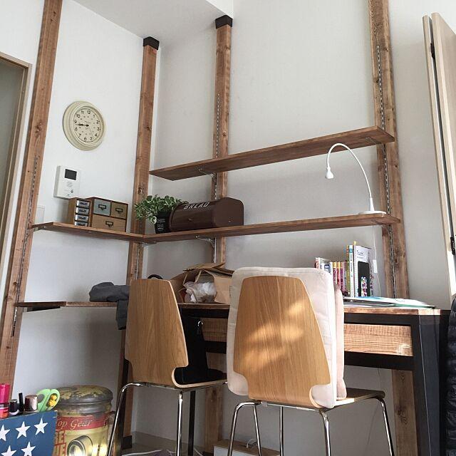 ディアウォール,DIY,カフェ風,My Desk,ディアウォール棚,ディアウォール DIY,IKEA,ワンルーム,賃貸マンション,賃貸,チャンネルサポート,ウッドブラケット,棚柱,棚受け KITTAの部屋