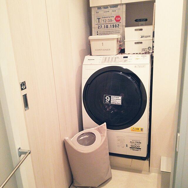 Bathroom,洗濯機,Panasonic,Panasonic洗濯機,ニトリ,洗濯かご,洗濯かご ニトリ,ランドリーバスケット,100均,セリア,seria,squ+,転写シール,ウォールステッカー,手拭い,てぬぐい,無印良品,無印,ゴミ箱,省スペース,シンプル,バスロールサイン,3Coins brown-whiteの部屋