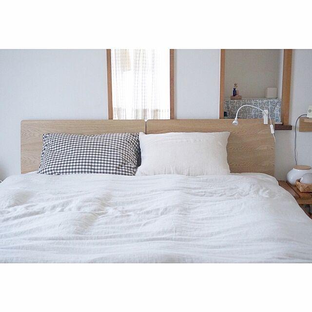 Bedroom,ベッドルーム,IKEA,無印良品ベッド,無印良品 壁に付けられる家具,無印良品,寝室 cuppy416の部屋