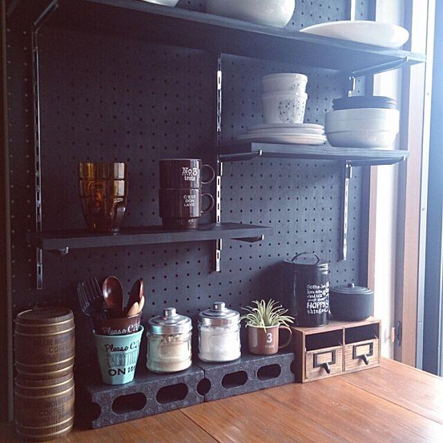 My Shelf,キッチンカウンター手作り,ブログ更新しました∀♭,男前,カフェ風,DlYの棚,見せる 収納,セリア,パンチングボード,3Coins,カウンターテーブル,有孔ボード lovesnoopyの部屋